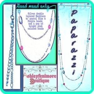 silver Necklace W/Light blue,clear,purple&poppink!